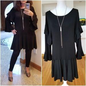 SO CHIC! Black Ruffled Knit Dress.